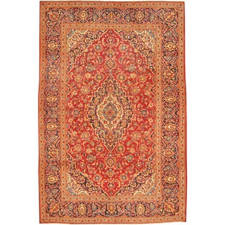 Herat Oriental Persian Hand-knotted Kashan Red/ Navy Wool Rug (6'5 x 9'8)