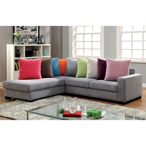 Furniture of America Bardell Contemporary Grey L-Shaped Sectional