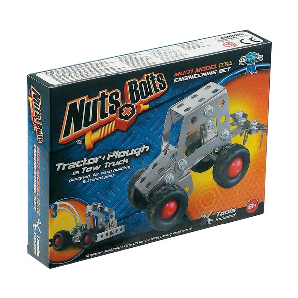Nuts+Bolts Multi Model Engineering Set: Tractor + Plough or Tow Truck