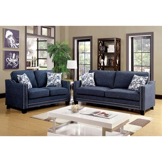 Furniture of America Armensio Contemporary 2-piece Chenille Sofa Set