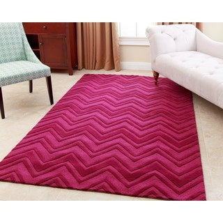 Abbyson Living Hand-tufted Stacy Dark Pink New Zealand Wool Rug (8' x 10')