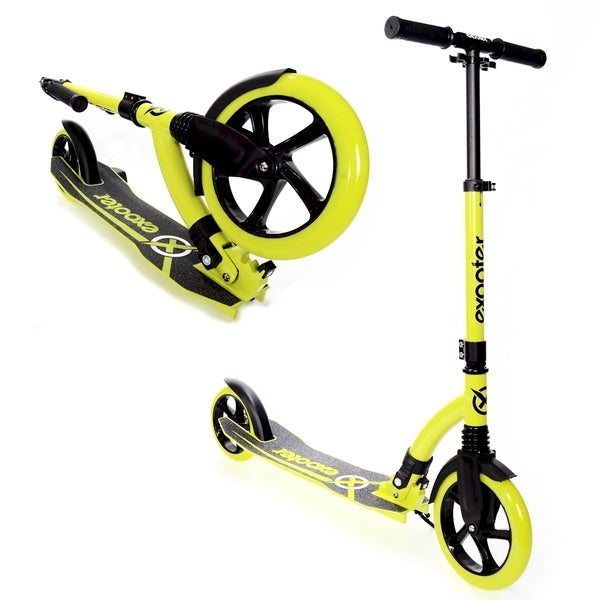 EXOOTER M1550BG Vibrant Green 6XL Adult Kick Scooter with Front Shocks And 180mm/240mm Wheels