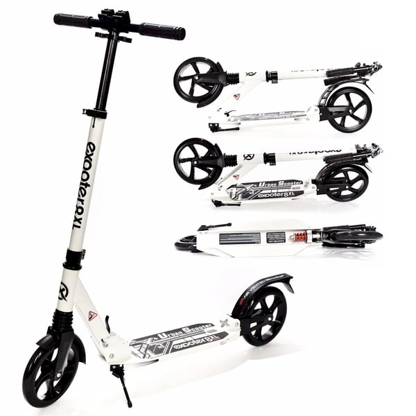 EXOOTER M1350WT White 8XL Adult Cruiser Kick Scooter with Suspension Shocks