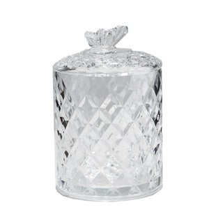 Fifth Avenue Tall Crystal Butterfly Jar with Lid