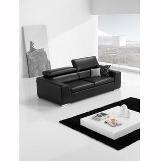 Celine Black Italian Leather and Black Stitch Sofa