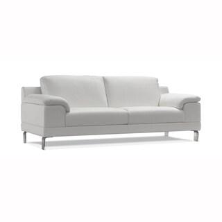 Samira White Leather 3-Seater Sofa