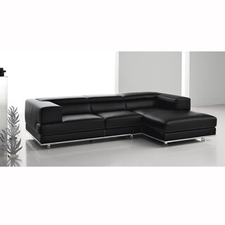 Desire Black Italian Leather and Light Grey Stitch Sofa