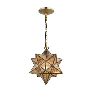 Sterling Home Moravian Star Pendant Gold 10-inch Metal Pendant with Antiqued Mercury Glass