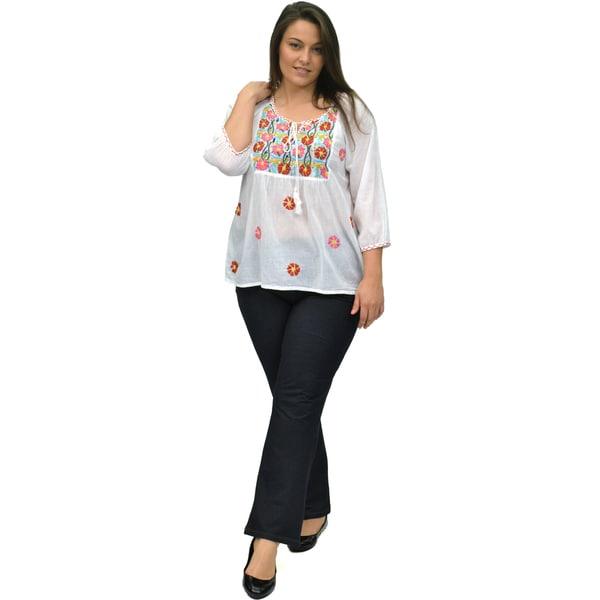La Cera Women's Plus Size Multicolor Embroidery Top