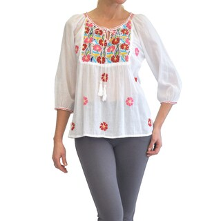 La Cera Women's Multicolor Embroidery Top