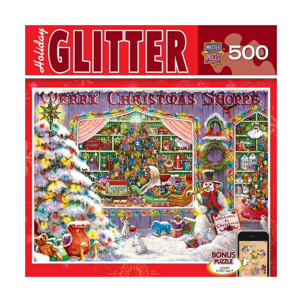 Holiday Glitter Puzzle Christmas Shop: 500 Pcs