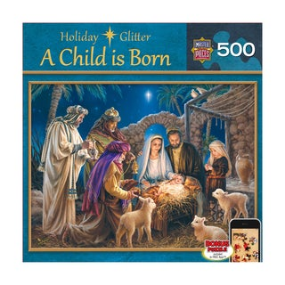 Holiday Glitter Puzzle A Child is Born: 500 Pcs