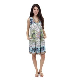 La Cera Women's Sleeveless Green Printed Dress