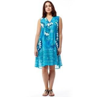 La Cera Women's Sleeveless Blue Printed Dress