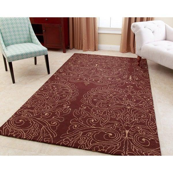 Abbyson Hand-tufted Regal Brown New Zealand Wool Rug (8' x 10') -  Abbyson Living, RC-RG1224-0810-BRN