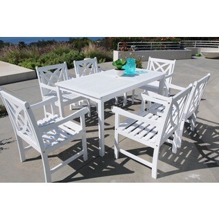 Bradley Eco-friendly 7-piece Outdoor White Hardwood Dining Set with Rectangle Table and Arm Chairs
