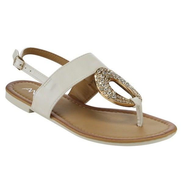 Bella Marie Silvia-25 Rhinestone Thong Sandals 19104781