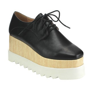 Beston Cd66 Women's Platform Oxford Wedges
