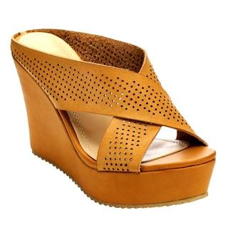 Beston Cd51 Women's Criss Cross Wedge Sandals