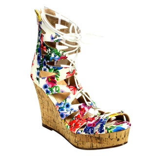 Beston Cd50 Women's Lace Up Wedge Sandals