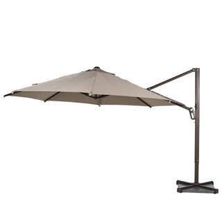 Abba Patio 11 ft Octagon Cantilever Vented Tilt & Crank Lift Patio Umbrella with Cross Base, Tan
