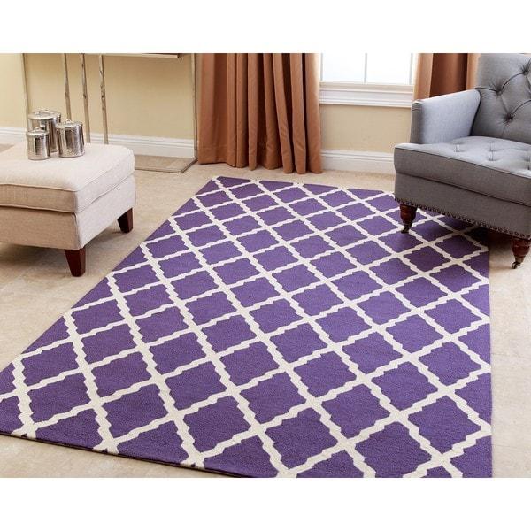 Abbyson Hand-tufted Chloe Lavender New Zealand Wool Rug (5' x 8') 17736385