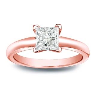 Auriya 14k Gold 1/4ct TDW Princess-cut Diamond V-End Solitaire Engagement Ring (J-K, I1-I2)