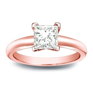 Auriya 14k Gold 1/3ct TDW Princess-cut Diamond V-End Solitaire Engagement Ring (I-J, SI2-SI3)