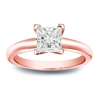 Auriya 14k Gold 1/3ct TDW Princess-cut Diamond V-End Solitaire Engagement Ring (J-K, I1-I2)
