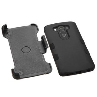 Insten Tuff Hard PC/ Silicone Dual Layer Hybrid Rubberized Matte Case Cover with Holster for LG V10