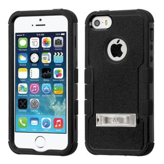Insten Hard PC/ Silicone Dual Layer Hybrid Rubberized Matte Case Cover with Stand for Apple iPhone 5/ 5S/ SE
