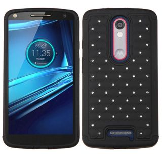 Insten Hard PC/ Silicone Dual Layer Hybrid Rubberized Matte Case Cover with Diamond for Motorola Droid Turbo 2