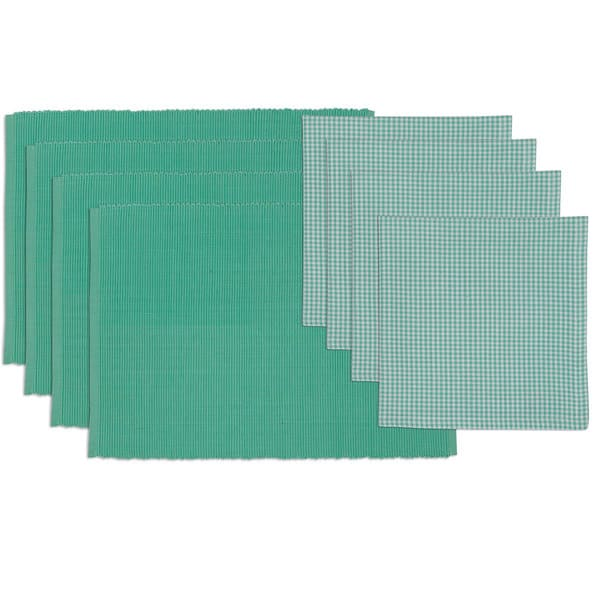 Spa Day Placemat and Check Napkin Set (Set of 4)