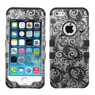 Insten Black/ White Four-leaf Clover Tuff Hard PC/ Silicone Dual Layer Hybrid Rubberized Matte Case Cover for Apple iPhone 5/ 5S