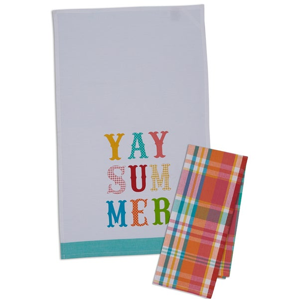 Yay Summer and Madras Plaid Dishtowel Set