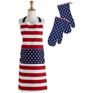 Stars and Stripes Printed Apron and Oven Mitt Set
