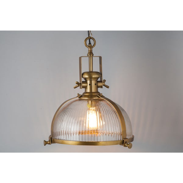 Brass Antique Ribbed Pendant Chandelier