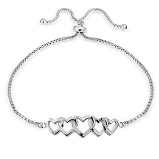 Mondevio Silver Intertwining Heart Adjustable Bolo Bracelet