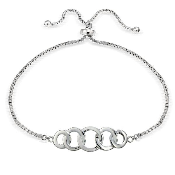 Mondevio Silver Intertwining Open Circle Adjustable Bolo Bracelet