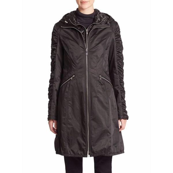 DL2 By Dawn Levy Women's Cali Black 3/4 Hooded Raincoat
