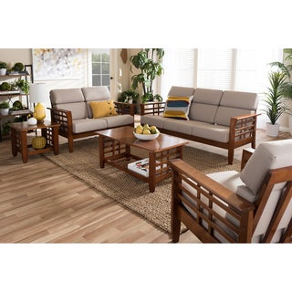 Baxton Studio Leda Modern Classic Mission Style Cherry Finished Wood Beige Fabric High Back Cushioned Living Room 5-piece Set