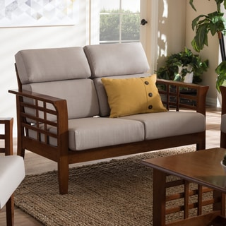 Baxton Studio Leda Modern Classic Mission Style Cherry Finish Wood Beige High Back Cushion Living Room 2-seater Loveseat Settee