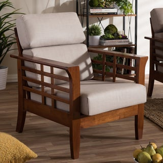 Baxton Studio Leda Modern Classic Mission Style Cherry Finished Wood Beige High Back Cushion Living Room 1-seater Lounge Chair