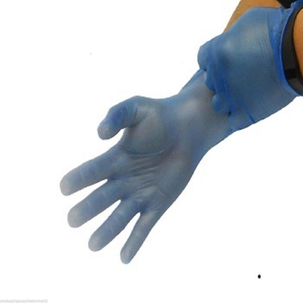 Blue Vinyl Disposable Gloves Powder Free 4.5ml Medium (Pack of 100)