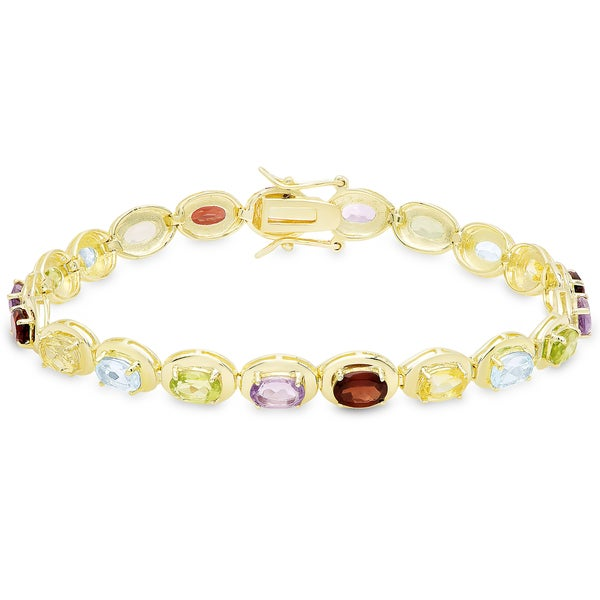 Dolce Giavonna Gold Over Sterling Silver Gemstone Oval Link Bracelet 17741481