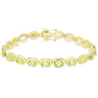 Dolce Giavonna Gold Over Sterling Silver Gemstone Oval Link Bracelet