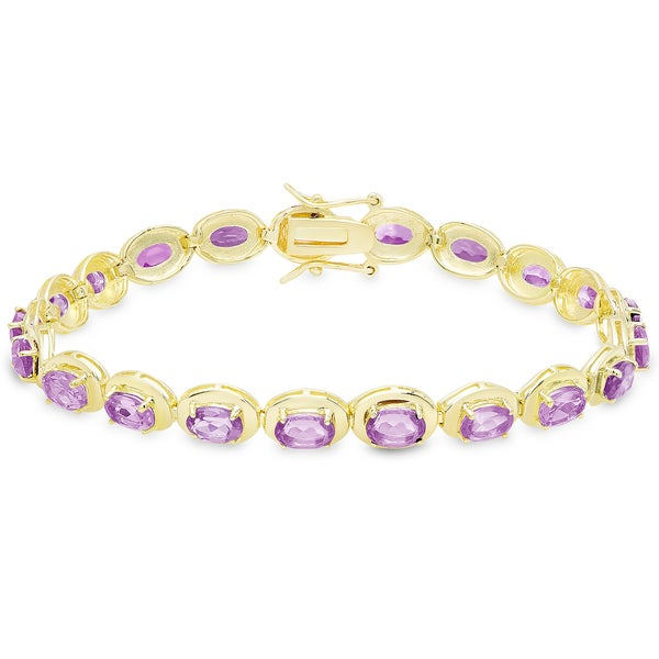Dolce Giavonna Gold Over Sterling Silver Oval Gemstone Link Bracelet 17741523