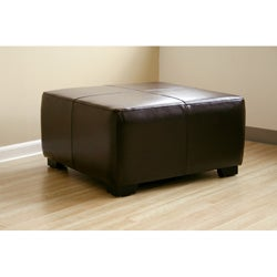 Square Dark Brown Bi-cast Leather Ottoman