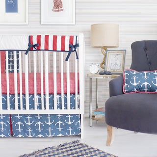 New Arrivals Anchors Away Navy Crib Rail Cover