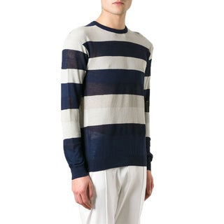 Z Zegna Men's Navy Striped Crewneck Sweater